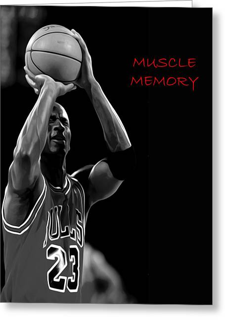Greeting Card featuring the painting Muscle Memory by Brian Reaves