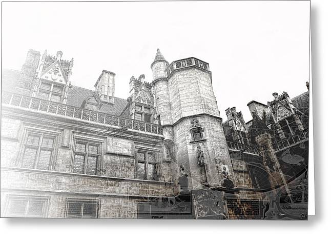 Musee De Cluny When The World Was Flat Greeting Card by Evie Carrier