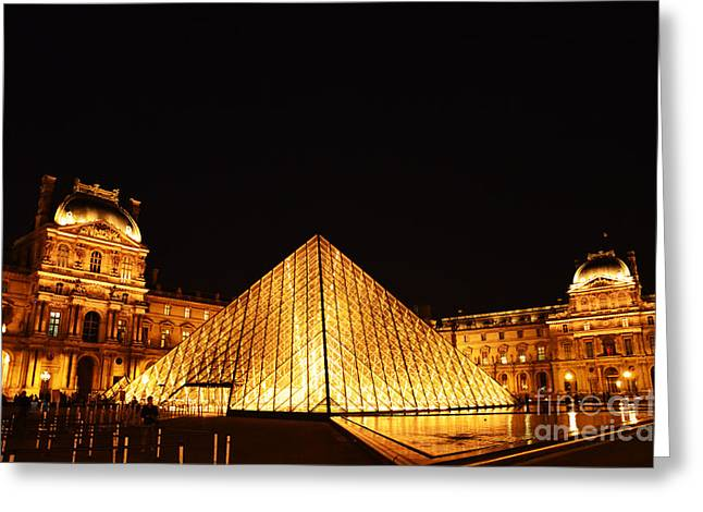 Musee Du Louvre At Night Greeting Card