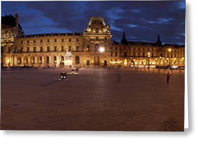 Museum At Dusk, Musee Du Louvre, Paris Greeting Card by Panoramic Images