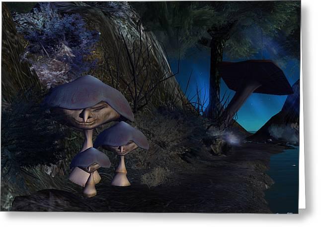 Greeting Card featuring the digital art Mushroom-people by Susanne Baumann
