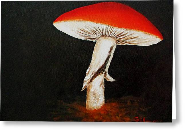 Greeting Card featuring the painting Mushroom by Roseann Gilmore