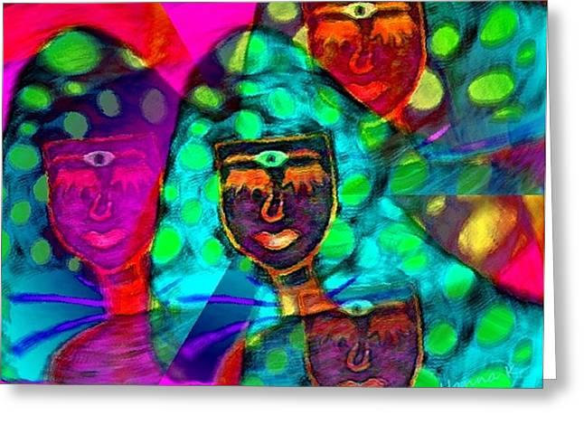 Mushroomlady In The Sun Happy Greeting Card by Hanna Khash