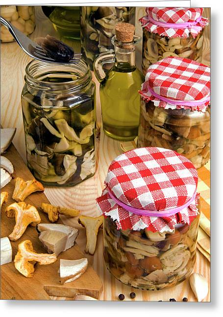 Mushrooms In Jar Preserved In Olive Oil Greeting Card