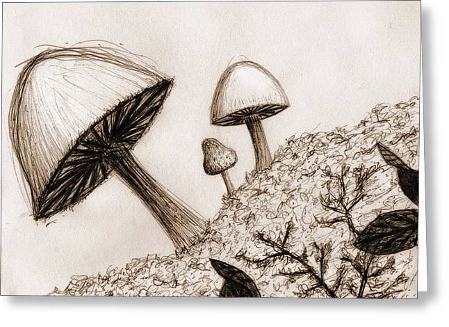 Mushrooms In Sepia Greeting Card by Jennifer Atherton