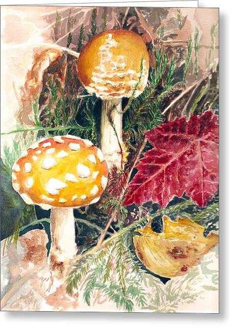 Mushrooms Greeting Card by Sonja Funnell