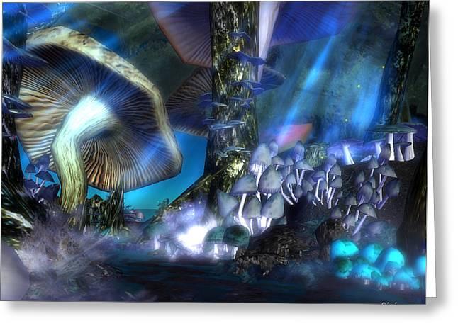 Greeting Card featuring the digital art Mushrooms by Susanne Baumann