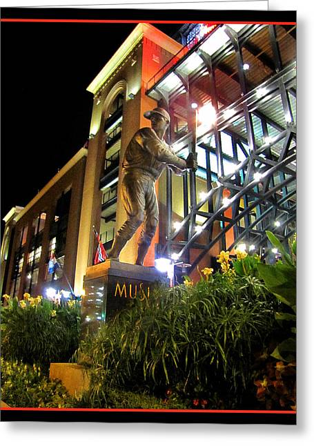 Musial Statue At Night Greeting Card