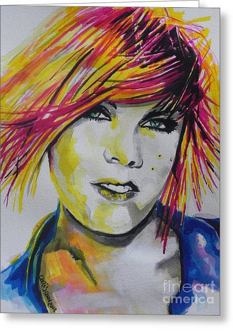 Music Artist..pink Greeting Card by Chrisann Ellis