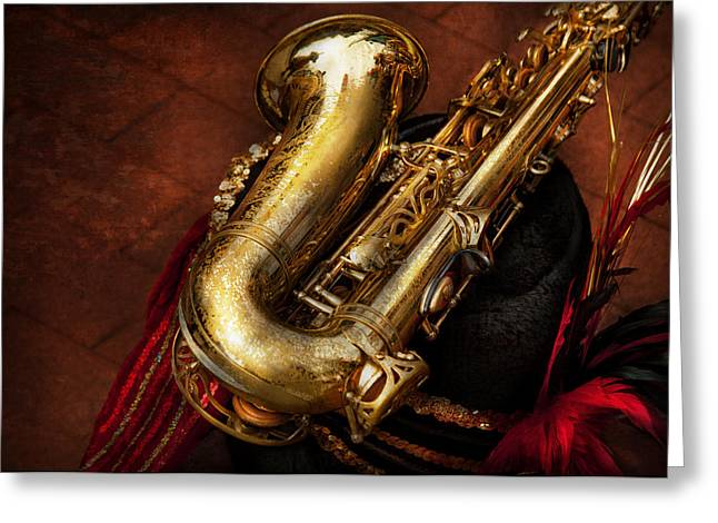 Music - Brass - Saxophone  Greeting Card by Mike Savad