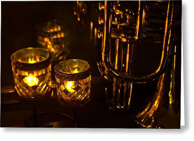 Trumpet And Candlelight Greeting Card