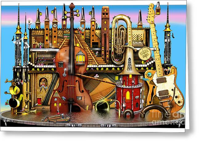 Music Castle Greeting Card by Colin Thompson