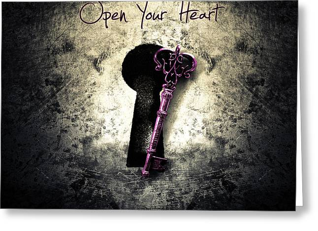 Music Gives Back - Open Your Heart Greeting Card by Caio Caldas