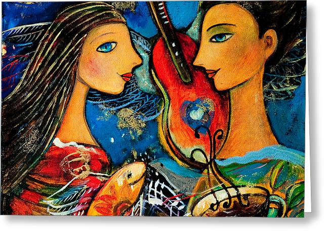 Music Lovers Greeting Card by Shijun Munns