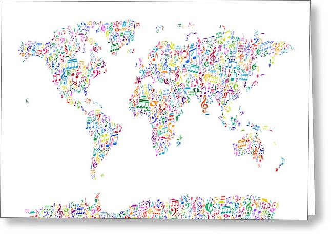 Music Notes Map Of The World Greeting Card by Michael Tompsett