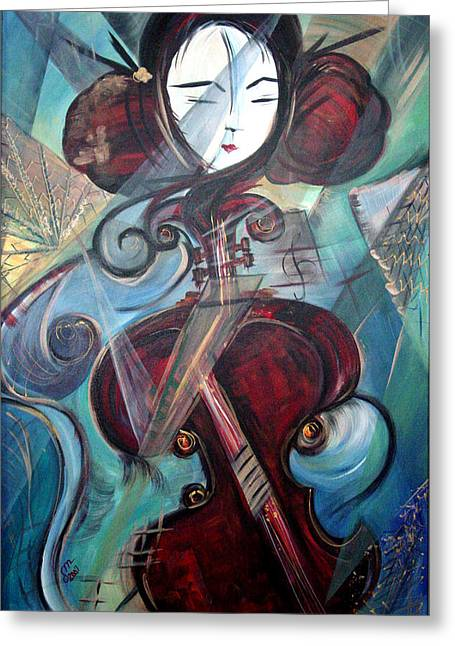 Greeting Card featuring the painting Music Of My Life by Dorothy Maier