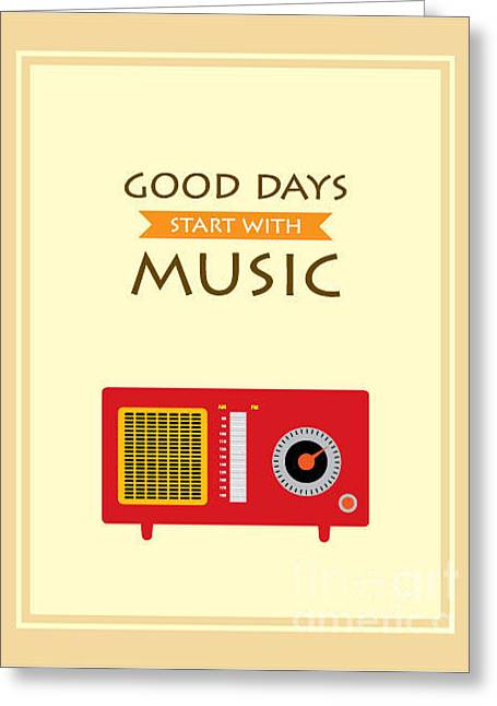 Music Radio Poster Greeting Card by Judilyn