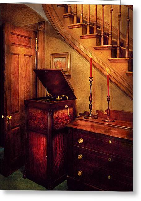 Music - Record - The Victrola Greeting Card by Mike Savad