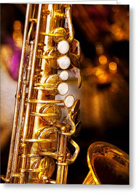 Music - Sax - Sweet Jazz  Greeting Card by Mike Savad