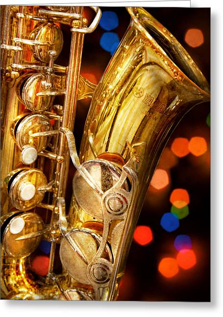 Music - Sax - Very Saxxy Greeting Card by Mike Savad