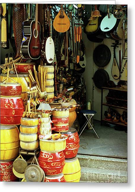Music Shop Greeting Card by Rick Piper Photography