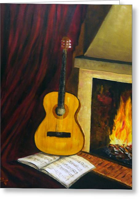 Music Warms The Soul Greeting Card by Persephone Artworks