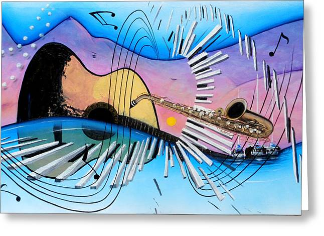 Musica Greeting Card by Angel Ortiz