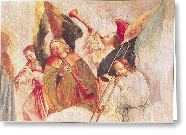 Musical Angels, Detail From The Assumption Of The Virgin Greeting Card
