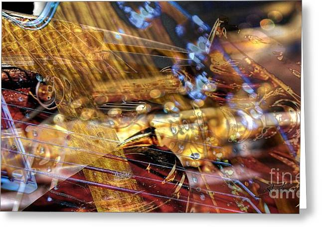 Musical Confusion Digital Guitar Art By Steven Langston Greeting Card by Steven Lebron Langston