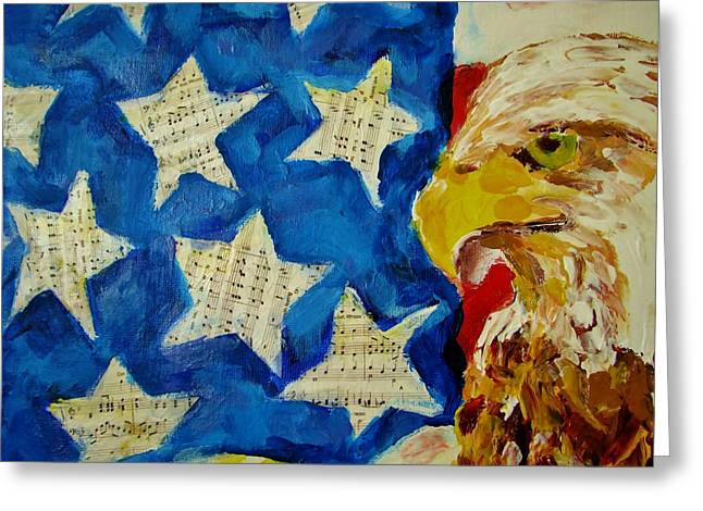 Musical Flag Stars Greeting Card by Kat Griffin