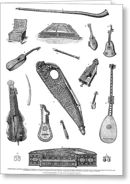 Musical Instruments, 1870 Greeting Card