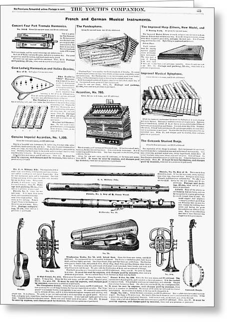 Musical Instruments, 1890 Greeting Card