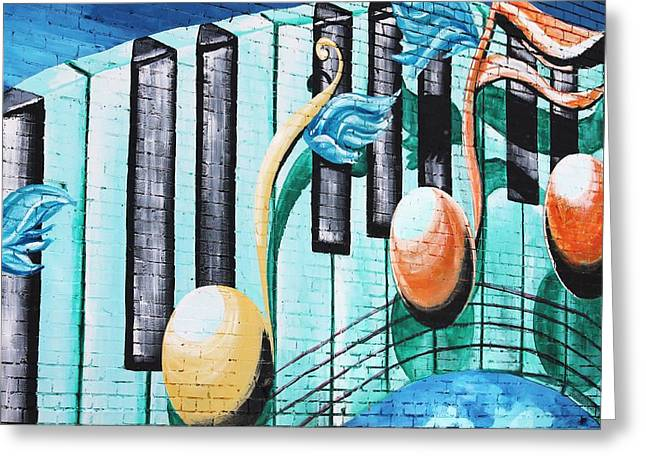 Musical Notes In Deep Ellum Greeting Card by Lorri Crossno