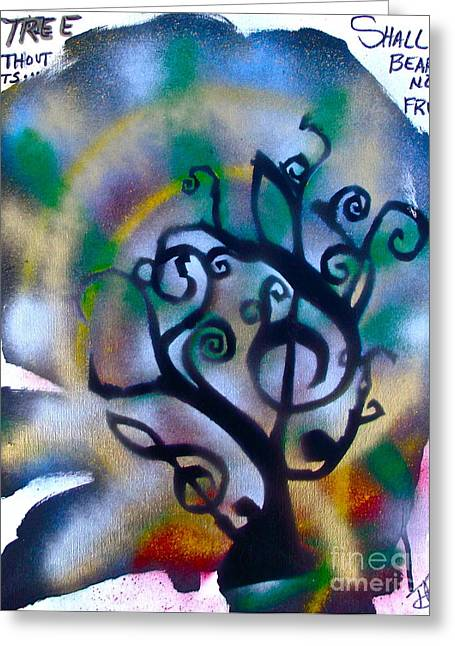 Musical Tree Blue Greeting Card by Tony B Conscious