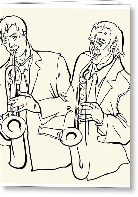 Musicans Of Jazz. Vector Illustration Greeting Card