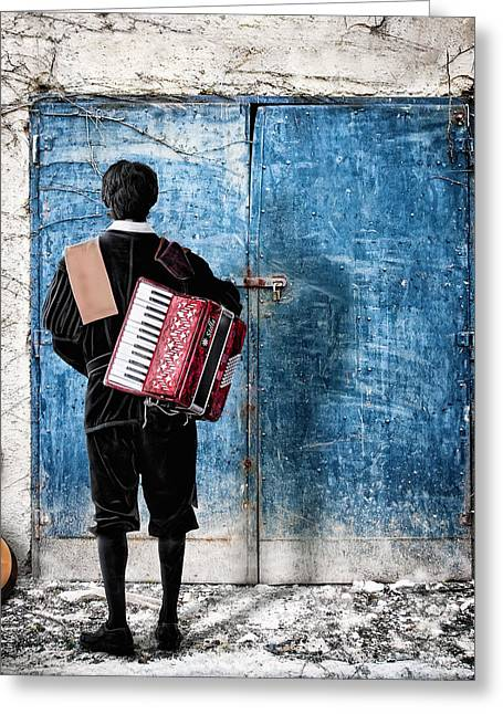 Musician At The Door Greeting Card by Nermin Smajic