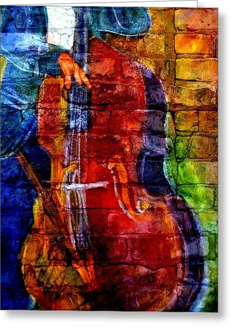 Musician Bass And Brick Greeting Card