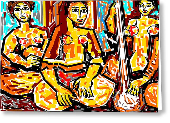 Musicians Greeting Card by Anand Swaroop Manchiraju