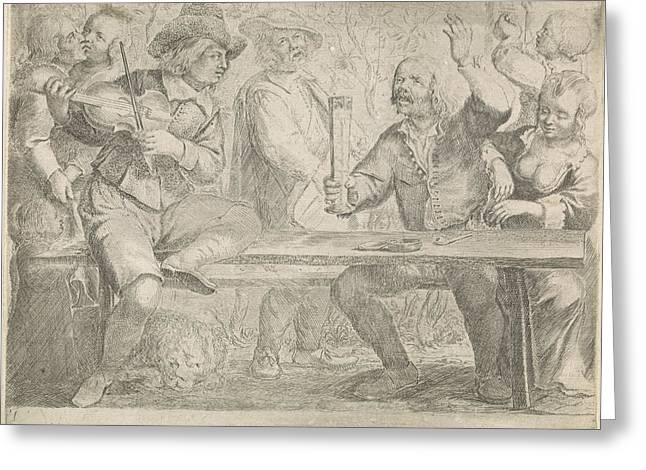 Musicians And Drink In A Tavern, Jan Miense Molenaer Greeting Card
