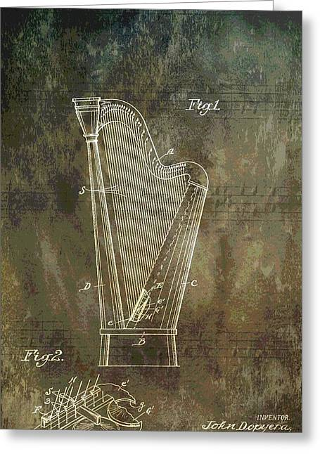 Musician's Harp Patent Greeting Card by Dan Sproul