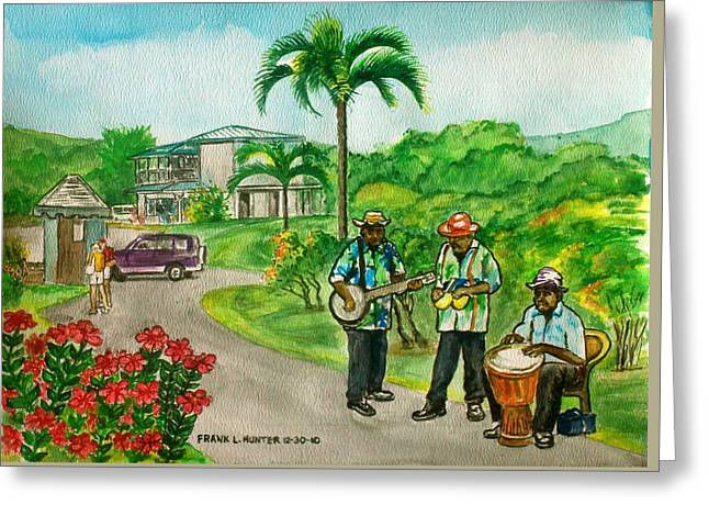 Musicians On Island Of Grenada Greeting Card