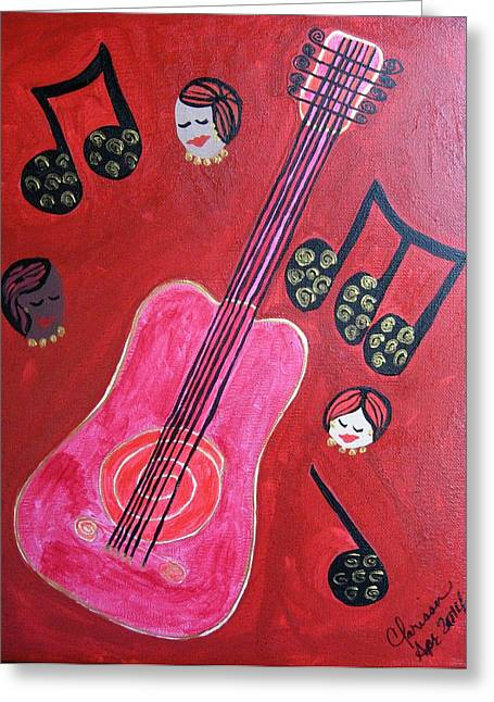 Musique Rouge Greeting Card by Clarissa Burton