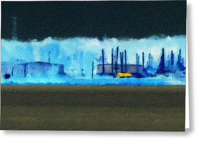 Muskegon Lake View Of Drydocked Sailboats At The Marina Greeting Card by Rosemarie E Seppala