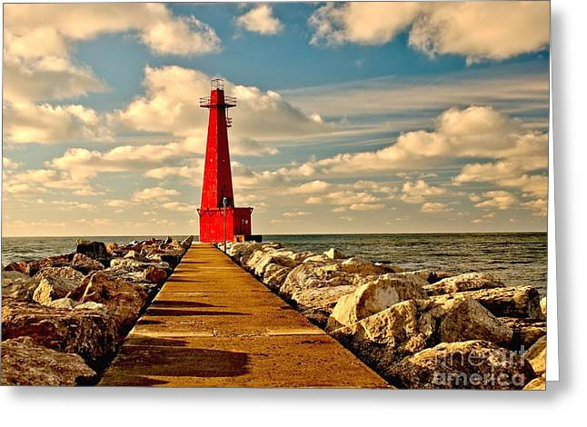 Muskegon South Pier Light Greeting Card