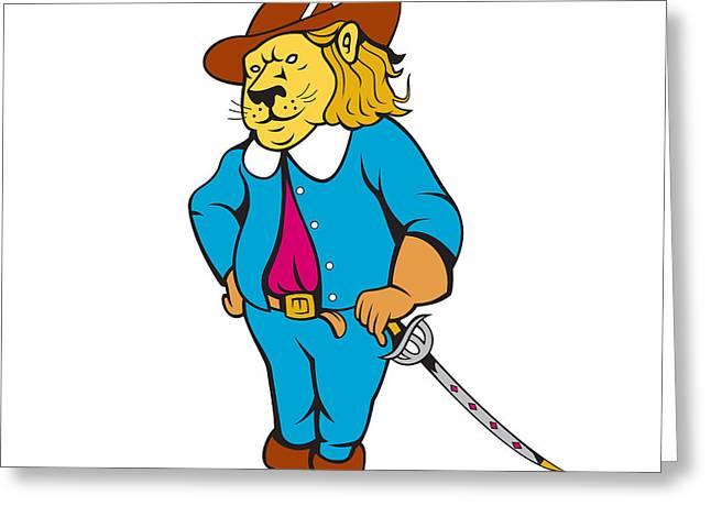 Musketeer Lion Hat Sword Cartoon Greeting Card by Aloysius Patrimonio