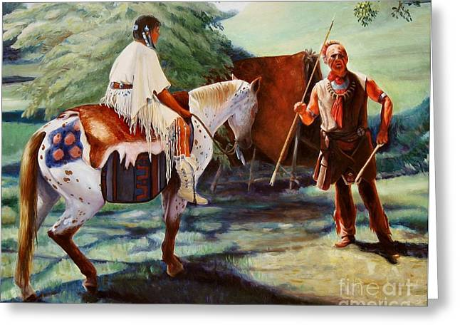 Greeting Card featuring the painting Muskogee Traditions by Pat Burns