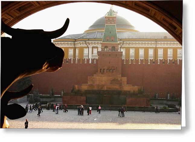 Muscovite Bulls 2 Greeting Card by Juozas Mazonas