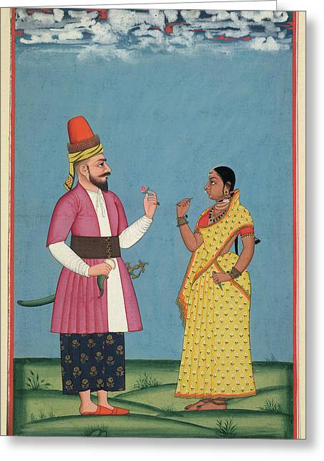 Muslim Noble And Wife Greeting Card by British Library
