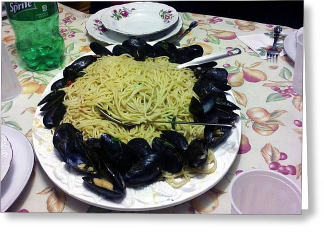 Mussels And Pasta Greeting Card