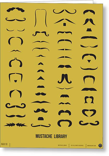 Mustache Library Poster Greeting Card by Naxart Studio